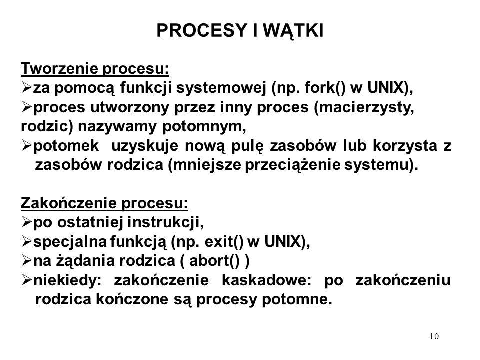 10 PROCESY I WĄTKI Tworzenie procesu: za pomocą funkcji systemowej (np. fork() w UNIX), proces utworzony przez inny proces (macierzysty, rodzic) nazyw