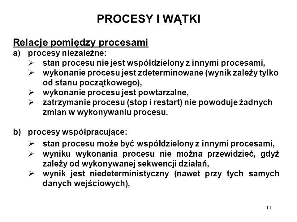 11 PROCESY I WĄTKI Relacje pomiędzy procesami a)procesy niezależne: stan procesu nie jest współdzielony z innymi procesami, wykonanie procesu jest zde