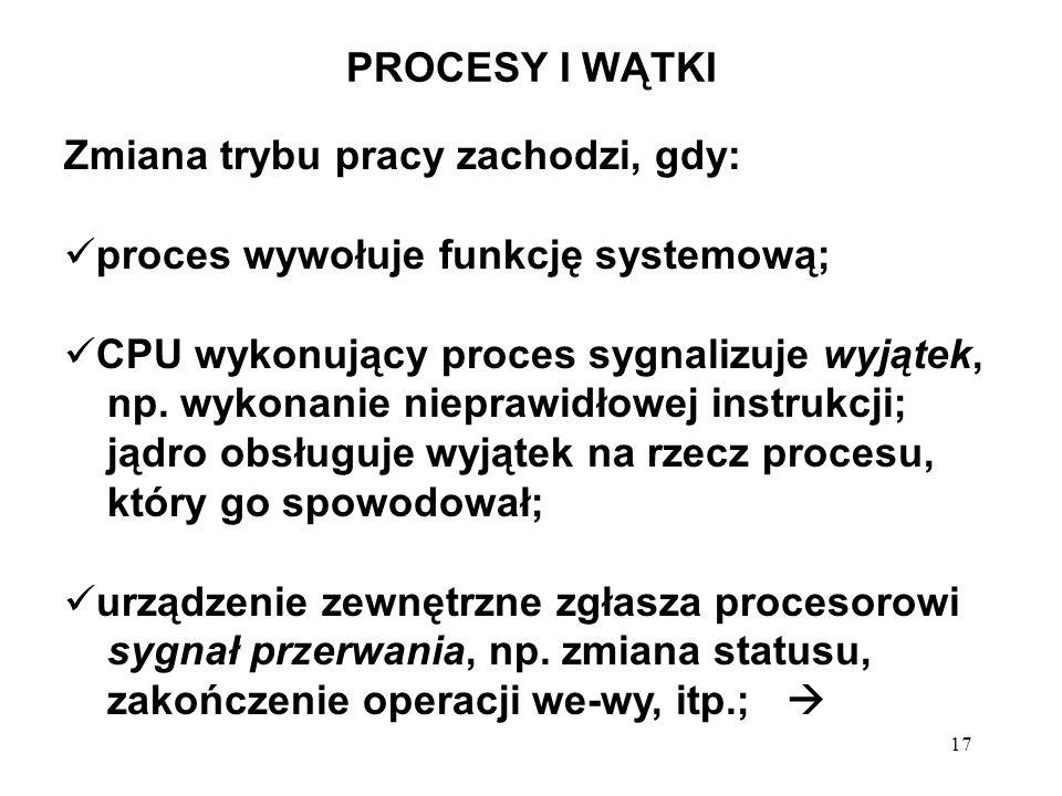 17 PROCESY I WĄTKI Zmiana trybu pracy zachodzi, gdy: proces wywołuje funkcję systemową; CPU wykonujący proces sygnalizuje wyjątek, np. wykonanie niepr