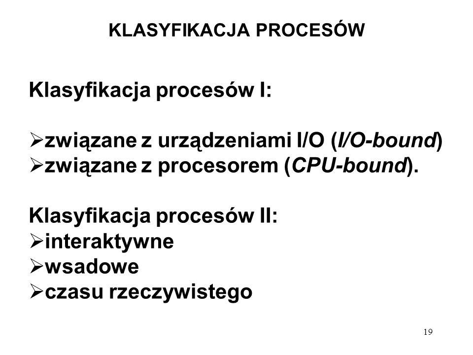 19 KLASYFIKACJA PROCESÓW Klasyfikacja procesów I: związane z urządzeniami I/O (I/O-bound) związane z procesorem (CPU-bound). Klasyfikacja procesów II: