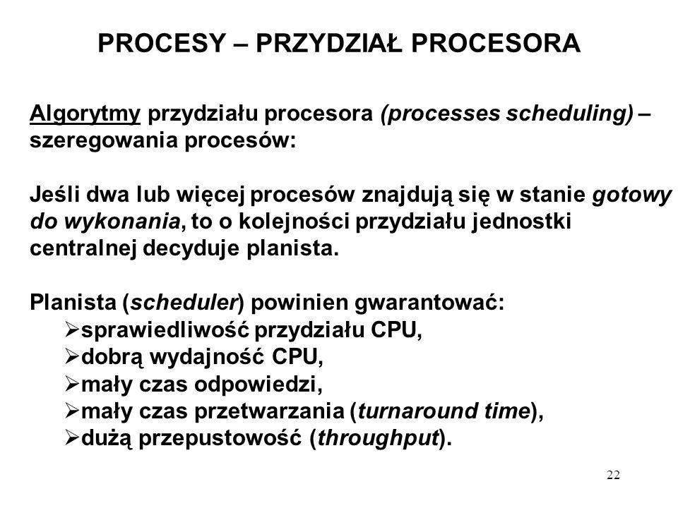 22 PROCESY – PRZYDZIAŁ PROCESORA Algorytmy przydziału procesora (processes scheduling) – szeregowania procesów: Jeśli dwa lub więcej procesów znajdują