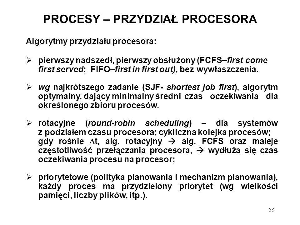 26 PROCESY – PRZYDZIAŁ PROCESORA Algorytmy przydziału procesora: pierwszy nadszedł, pierwszy obsłużony (FCFS–first come first served; FIFO–first in fi