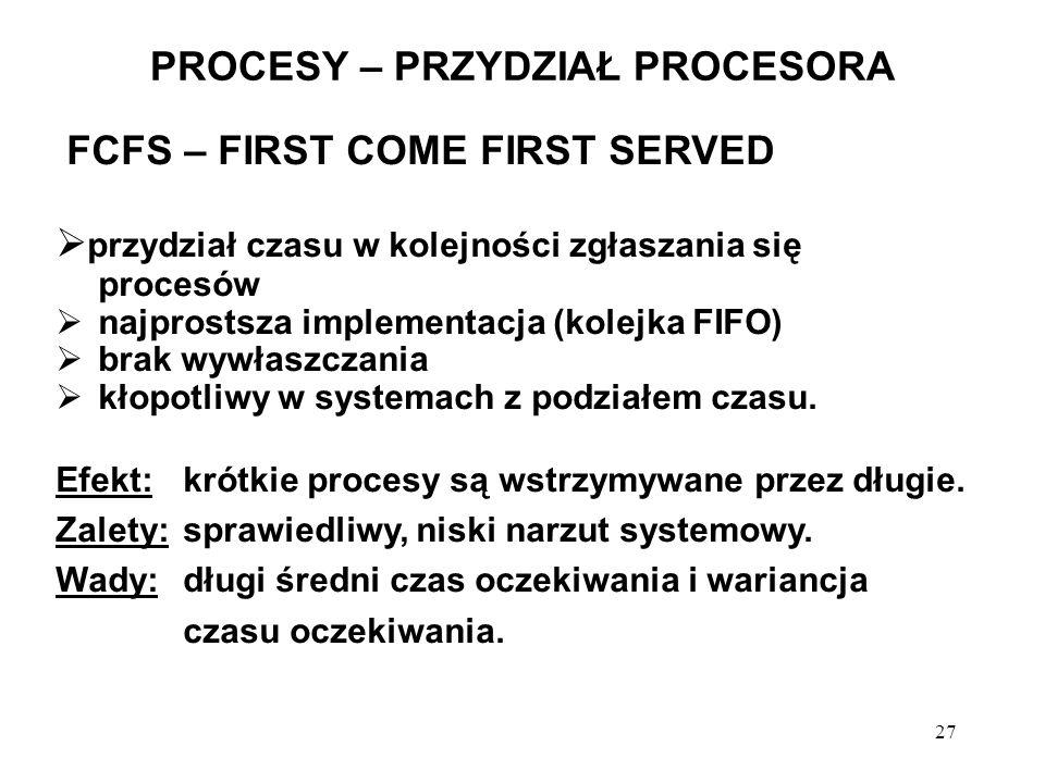 27 PROCESY – PRZYDZIAŁ PROCESORA FCFS – FIRST COME FIRST SERVED przydział czasu w kolejności zgłaszania się procesów najprostsza implementacja (kolejk