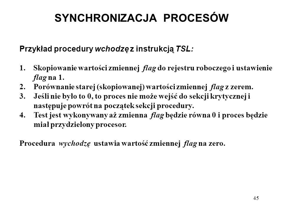 45 SYNCHRONIZACJA PROCESÓW Przykład procedury wchodzę z instrukcją TSL: 1. Skopiowanie wartości zmiennej flag do rejestru roboczego i ustawienie flag