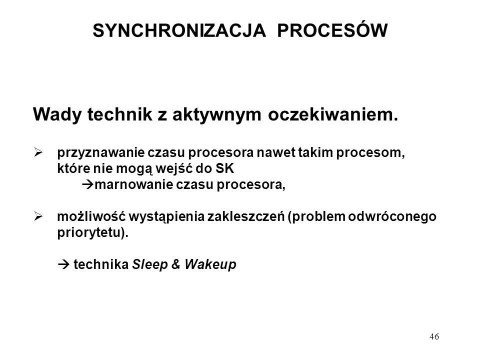 46 SYNCHRONIZACJA PROCESÓW Wady technik z aktywnym oczekiwaniem. przyznawanie czasu procesora nawet takim procesom, które nie mogą wejść do SK marnowa