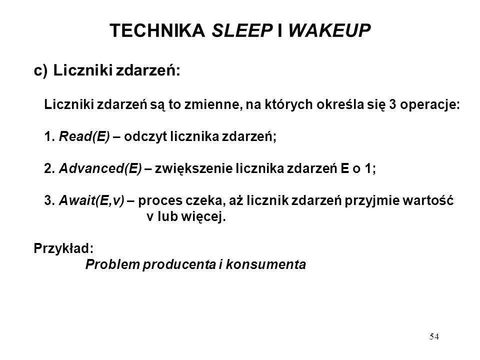 54 TECHNIKA SLEEP I WAKEUP c) Liczniki zdarzeń: Liczniki zdarzeń są to zmienne, na których określa się 3 operacje: 1. Read(E) – odczyt licznika zdarze