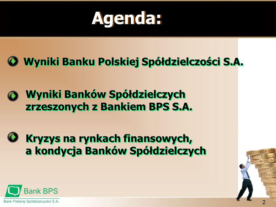 2 Agenda: Kryzys na rynkach finansowych, a kondycja Banków Spółdzielczych Wyniki Banków Spółdzielczych zrzeszonych z Bankiem BPS S.A. Wyniki Banku Pol