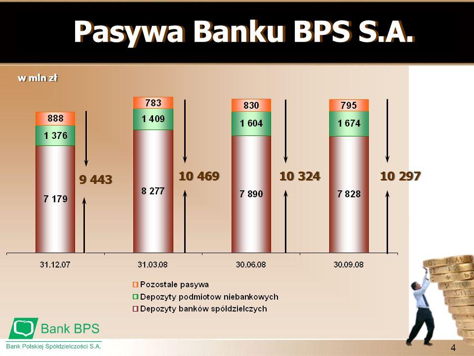 4 w mln zł Pasywa Banku BPS S.A. 9 443 10 469 10 324 10 297