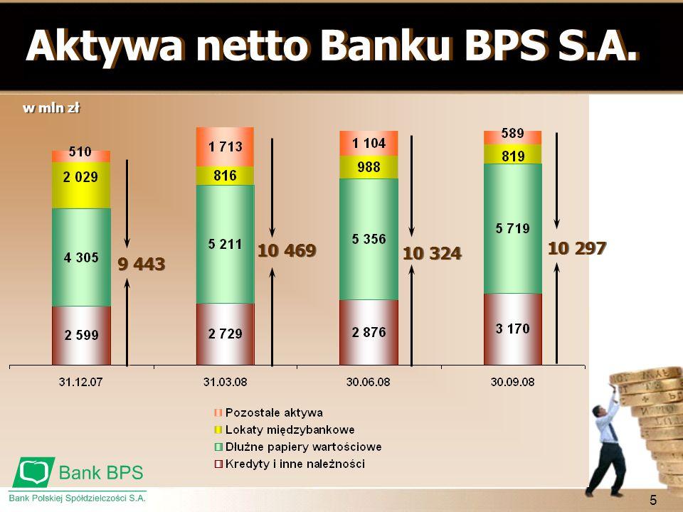 5 w mln zł Aktywa netto Banku BPS S.A. 9 443 10 469 10 324 10 297