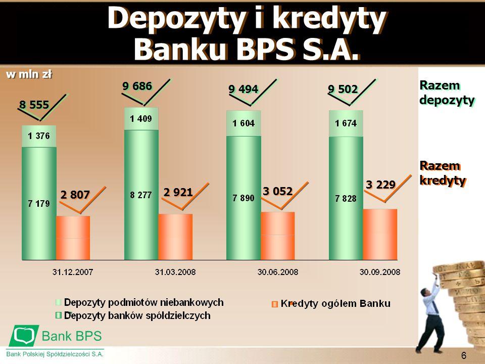6 8 555 9 686 9 494 9 502 2 921 3 229 3 052 Depozyty i kredyty Banku BPS S.A. Depozyty i kredyty Banku BPS S.A. Razem depozyty Razem kredyty 2 807 w m