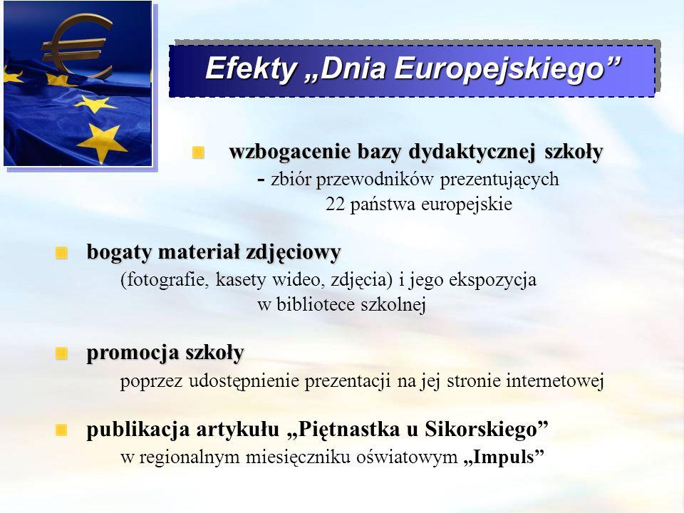 Efekty Dnia Europejskiego wzbogacenie bazy dydaktycznej szkoły wzbogacenie bazy dydaktycznej szkoły - zbiór przewodników prezentujących 22 państwa eur