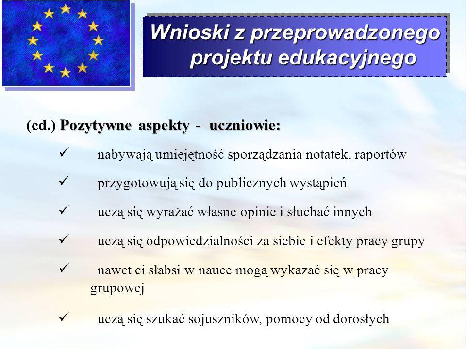 Wnioski z przeprowadzonego projektu edukacyjnego Pozytywne aspekty - uczniowie: (cd.) Pozytywne aspekty - uczniowie: nabywają umiejętność sporządzania