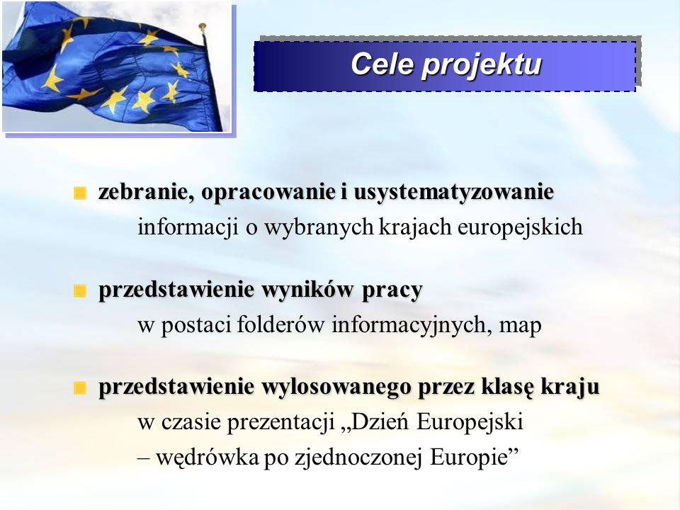 Cele projektu zebranie, opracowanie i usystematyzowanie zebranie, opracowanie i usystematyzowanie informacji o wybranych krajach europejskich przedsta