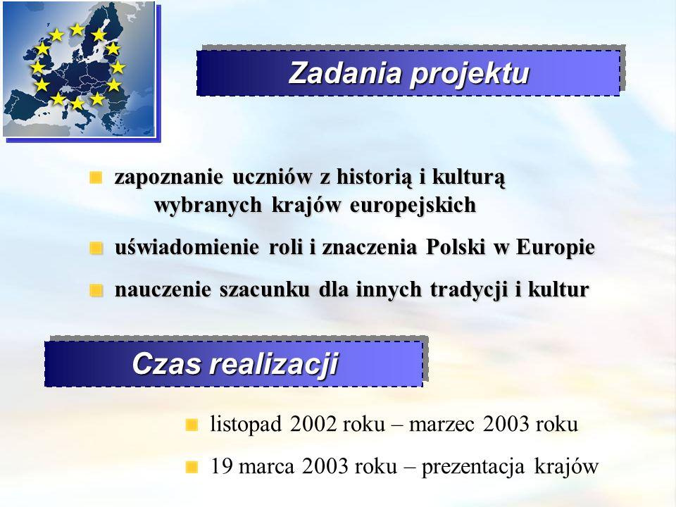 Zadania projektu zapoznanie uczniów z historią i kulturą wybranych krajów europejskich uświadomienie roli i znaczenia Polski w Europie uświadomienie r