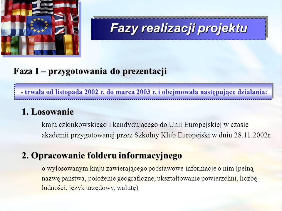 Fazy realizacji projektu Faza I – przygotowania do prezentacji - trwała od listopada 2002 r. do marca 2003 r. i obejmowała następujące działania: 1. L