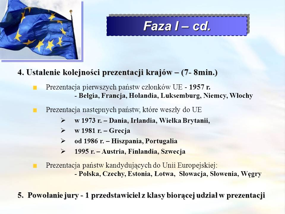 4. Ustalenie kolejności prezentacji krajów – (7- 8min.) Prezentacja pierwszych państw członków UE - 1957 r. - Belgia, Francja, Holandia, Luksemburg, N