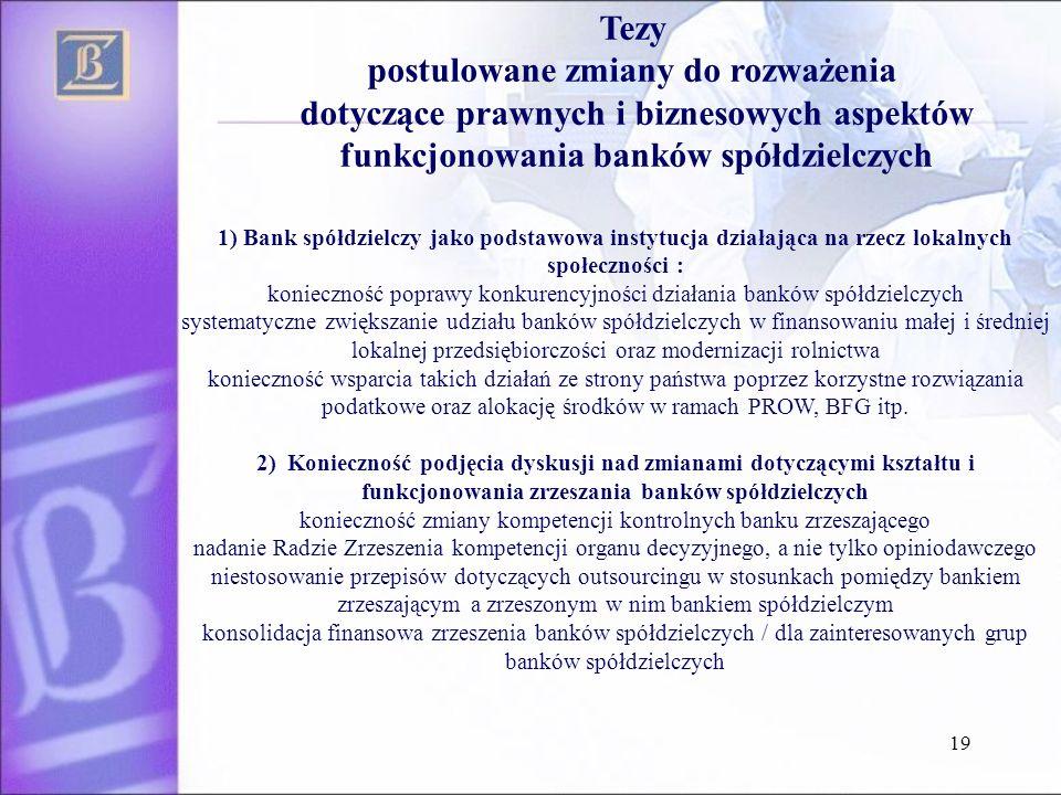 19 Tezy postulowane zmiany do rozważenia dotyczące prawnych i biznesowych aspektów funkcjonowania banków spółdzielczych 1) Bank spółdzielczy jako pods