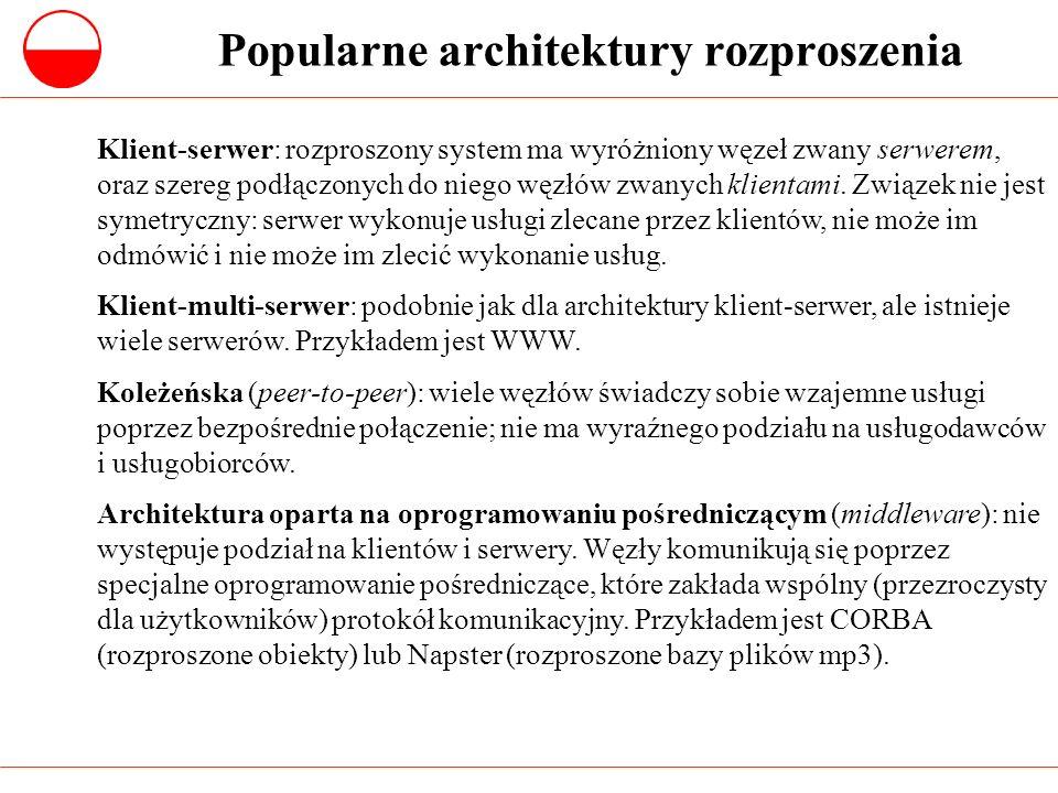 Architektura rozproszonych obiektów (1) W architekturze klient-serwer istnieje wyraźna asymetria pomiędzy klientem i serwerem; w szczególności, nie występuje tam komunikacja bezpośrednio pomiędzy klientami.
