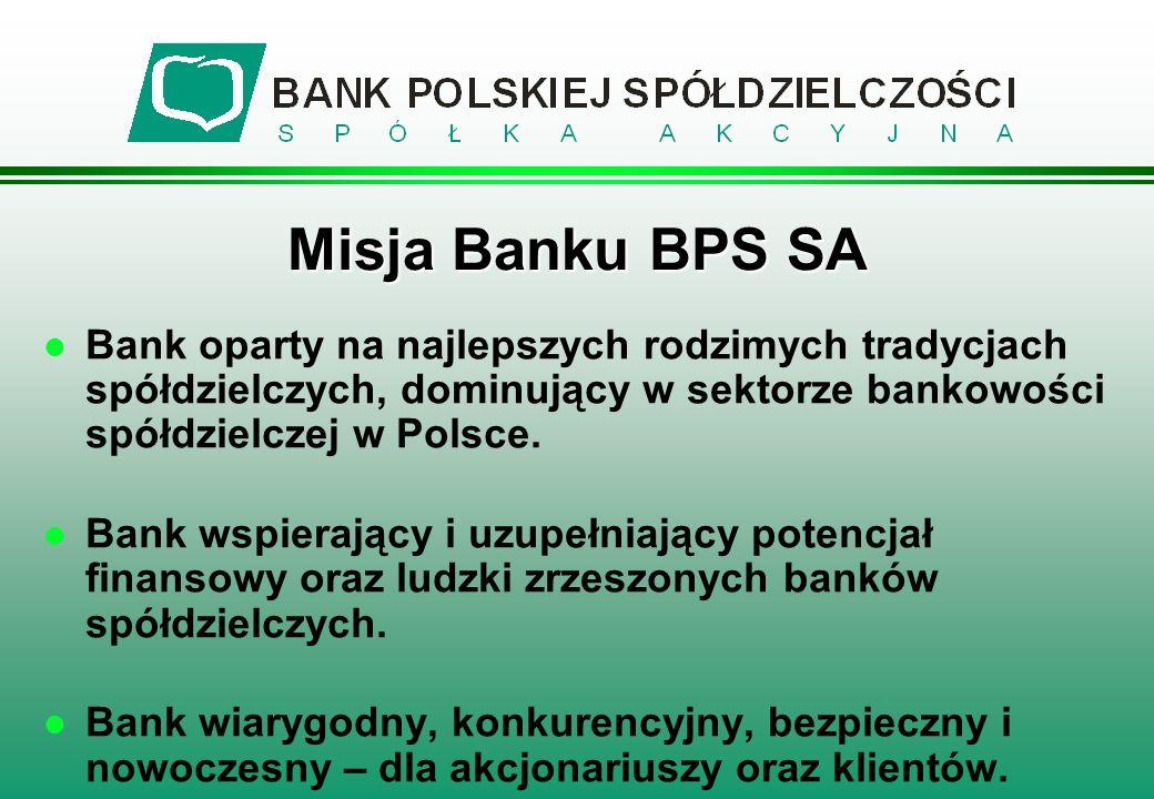 l Bank oparty na najlepszych rodzimych tradycjach spółdzielczych, dominujący w sektorze bankowości spółdzielczej w Polsce. l Bank wspierający i uzupeł