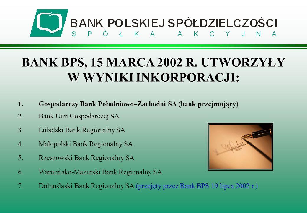 1.Gospodarczy Bank Południowo–Zachodni SA (bank przejmujący) 2.Bank Unii Gospodarczej SA 3.Lubelski Bank Regionalny SA 4.Małopolski Bank Regionalny SA 5.Rzeszowski Bank Regionalny SA 6.Warmińsko-Mazurski Bank Regionalny SA 7.Dolnośląski Bank Regionalny SA (przejęty przez Bank BPS 19 lipca 2002 r.) BANK BPS, 15 MARCA 2002 R.