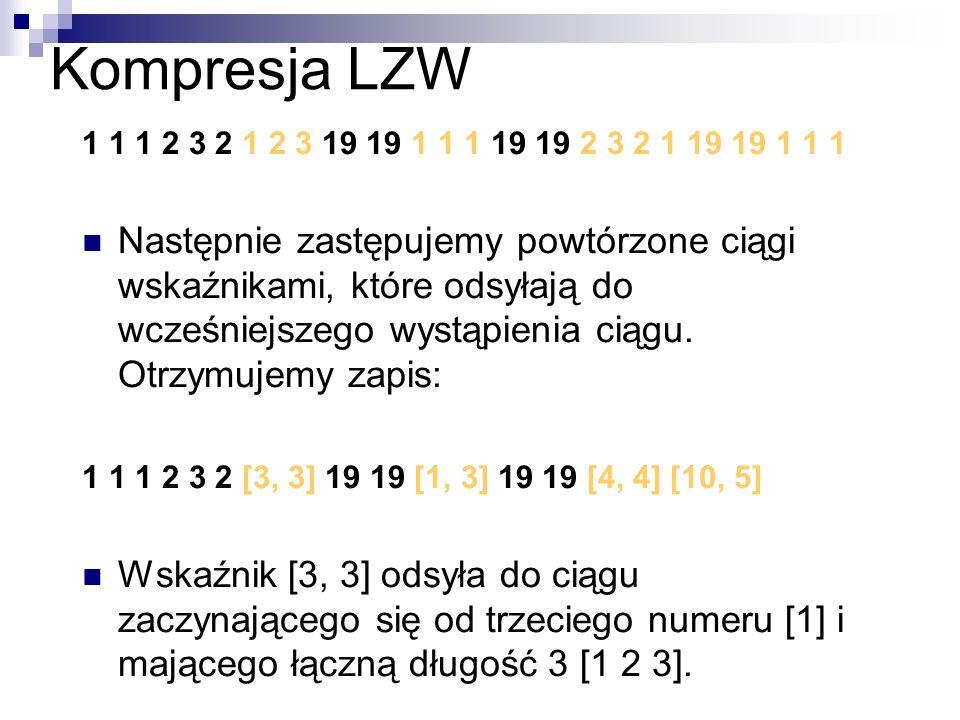 Kompresja LZW 1 1 1 2 3 2 1 2 3 19 19 1 1 1 19 19 2 3 2 1 19 19 1 1 1 Następnie zastępujemy powtórzone ciągi wskaźnikami, które odsyłają do wcześniejs