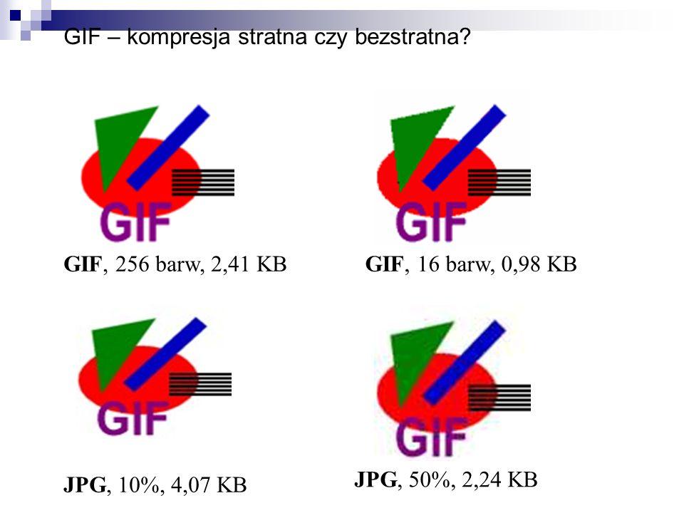 GIF – kompresja stratna czy bezstratna? GIF, 256 barw, 2,41 KB JPG, 50%, 2,24 KB GIF, 16 barw, 0,98 KB JPG, 10%, 4,07 KB