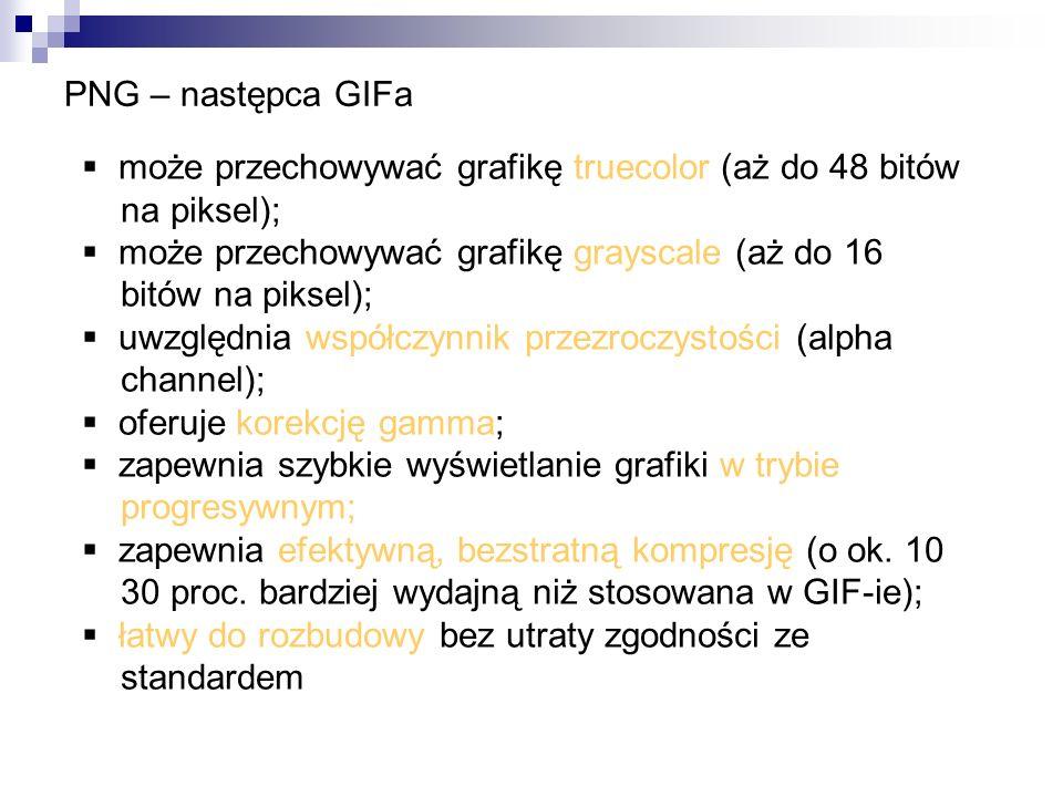 PNG – następca GIFa może przechowywać grafikę truecolor (aż do 48 bitów na piksel); może przechowywać grafikę grayscale (aż do 16 bitów na piksel); uw