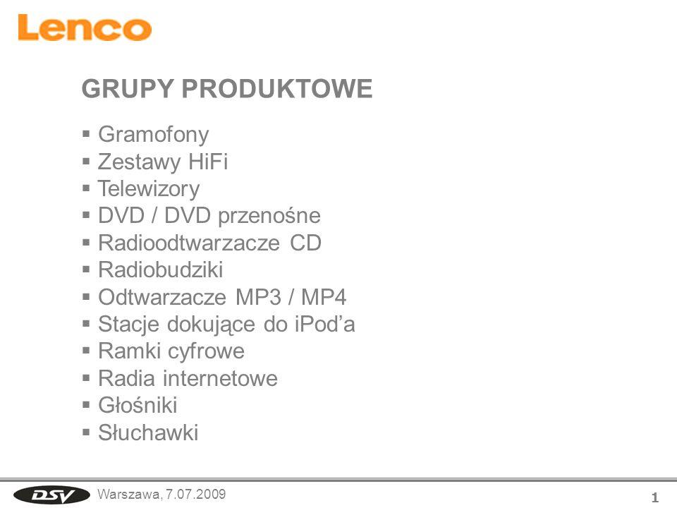 Warszawa, 7.07.2009 1 Gramofony Zestawy HiFi Telewizory DVD / DVD przenośne Radioodtwarzacze CD Radiobudziki Odtwarzacze MP3 / MP4 Stacje dokujące do