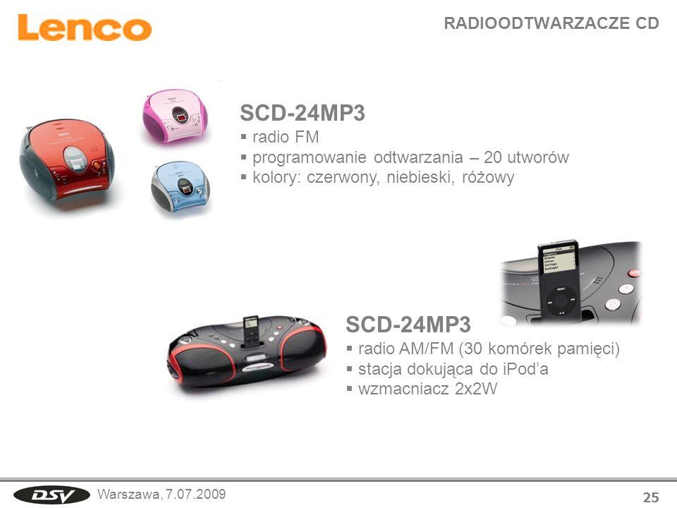 Warszawa, 7.07.2009 RADIOODTWARZACZE CD 25 SCD-24MP3 radio FM programowanie odtwarzania – 20 utworów kolory: czerwony, niebieski, różowy SCD-24MP3 rad