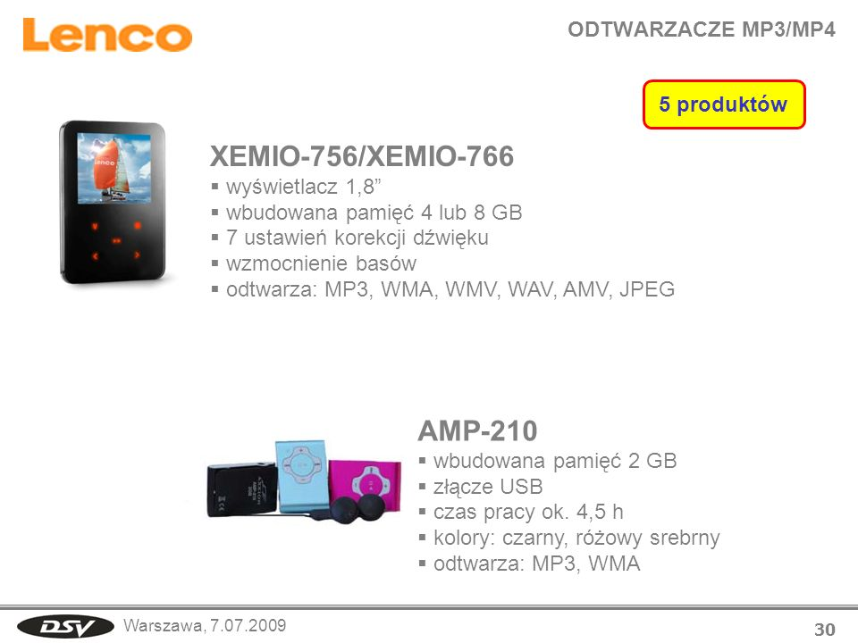 Warszawa, 7.07.2009 ODTWARZACZE MP3/MP4 30 XEMIO-756/XEMIO-766 wyświetlacz 1,8 wbudowana pamięć 4 lub 8 GB 7 ustawień korekcji dźwięku wzmocnienie bas