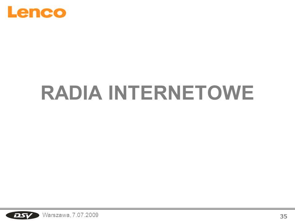 Warszawa, 7.07.2009 35 RADIA INTERNETOWE