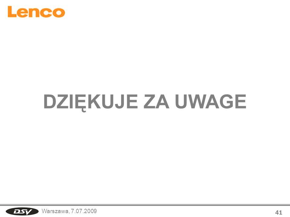 Warszawa, 7.07.2009 41 DZIĘKUJE ZA UWAGE