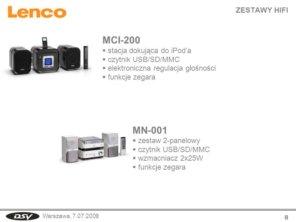 Warszawa, 7.07.2009 ZESTAWY HIFI 8 MCI-200 stacja dokująca do iPoda czytnik USB/SD/MMC elektroniczna regulacja głośności funkcje zegara MN-001 zestaw