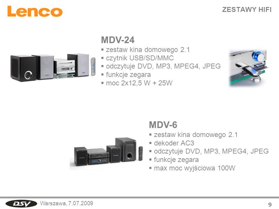 Warszawa, 7.07.2009 MDV-24 zestaw kina domowego 2.1 czytnik USB/SD/MMC odczytuje DVD, MP3, MPEG4, JPEG funkcje zegara moc 2x12,5 W + 25W ZESTAWY HIFI
