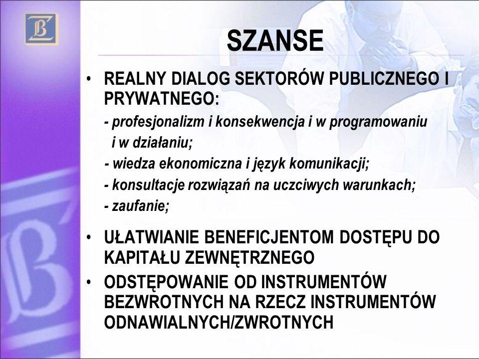 SZANSE REALNY DIALOG SEKTORÓW PUBLICZNEGO I PRYWATNEGO: - profesjonalizm i konsekwencja i w programowaniu i w działaniu; - wiedza ekonomiczna i język