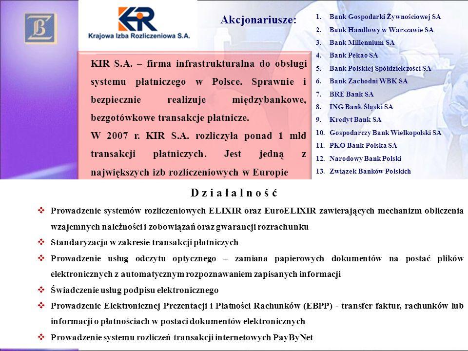 Akcjonariusze: 1.Bank Gospodarki Żywnościowej SA 2.Bank Handlowy w Warszawie SA 3.Bank Millennium SA 4.Bank Pekao SA 5.Bank Polskiej Spółdzielczości S