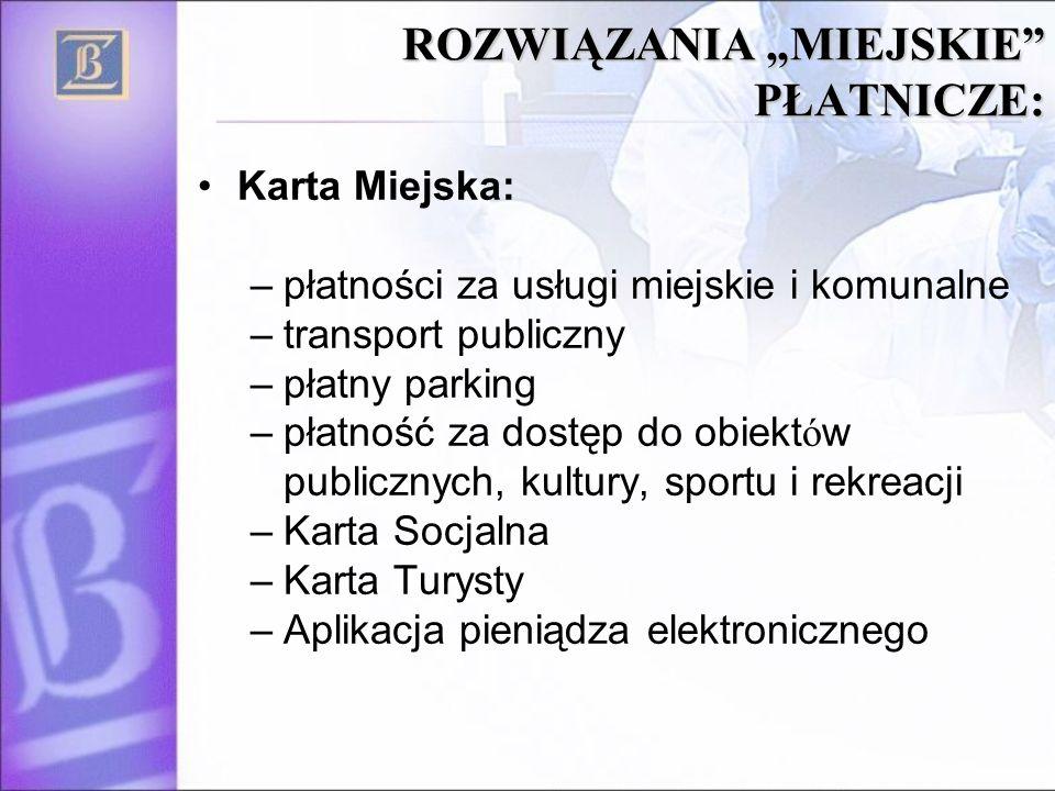 ROZWIĄZANIA MIEJSKIE PŁATNICZE: Karta Miejska: –płatności za usługi miejskie i komunalne –transport publiczny –płatny parking –płatność za dostęp do o