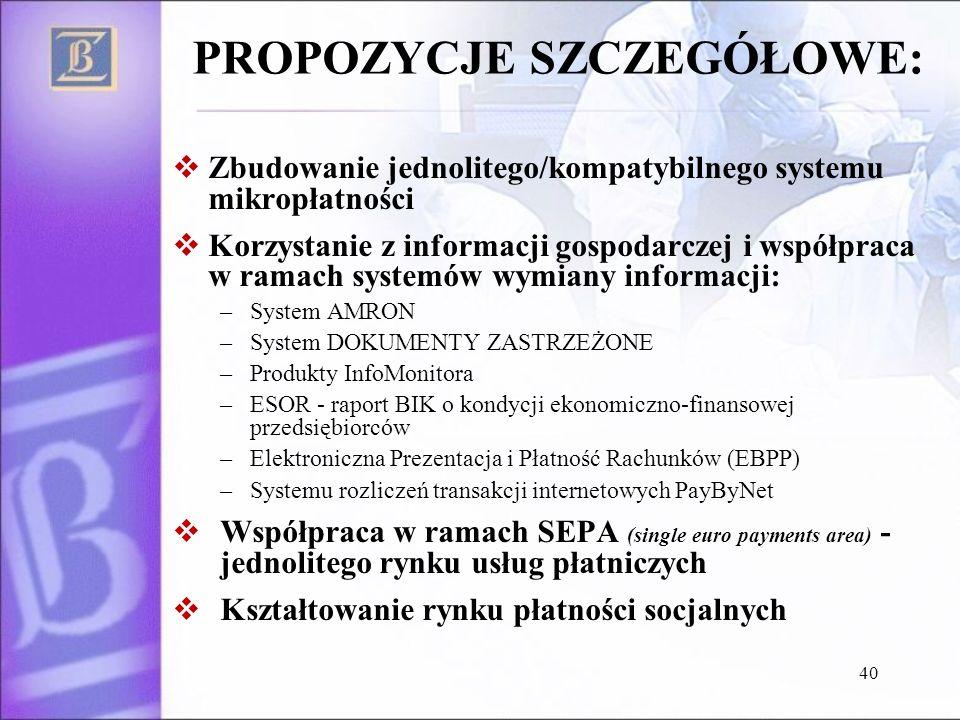 PROPOZYCJE SZCZEGÓŁOWE: Zbudowanie jednolitego/kompatybilnego systemu mikropłatności Korzystanie z informacji gospodarczej i współpraca w ramach syste