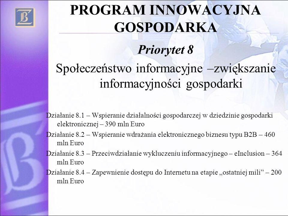 PROGRAM INNOWACYJNA GOSPODARKA Priorytet 8 Społeczeństwo informacyjne –zwiększanie informacyjności gospodarki Działanie 8.1 – Wspieranie działalności