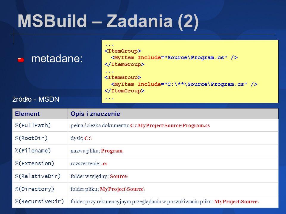 MSBuild – Zadania (2) metadane:......... ElementOpis i znaczenie %(FullPath) pełna ścieżka dokumentu; C:\MyProject\Source\Program.cs %(RootDir) dysk;
