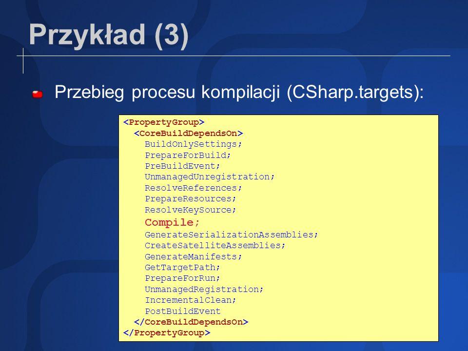 Przykład (3) Przebieg procesu kompilacji (CSharp.targets): BuildOnlySettings; PrepareForBuild; PreBuildEvent; UnmanagedUnregistration; ResolveReferenc