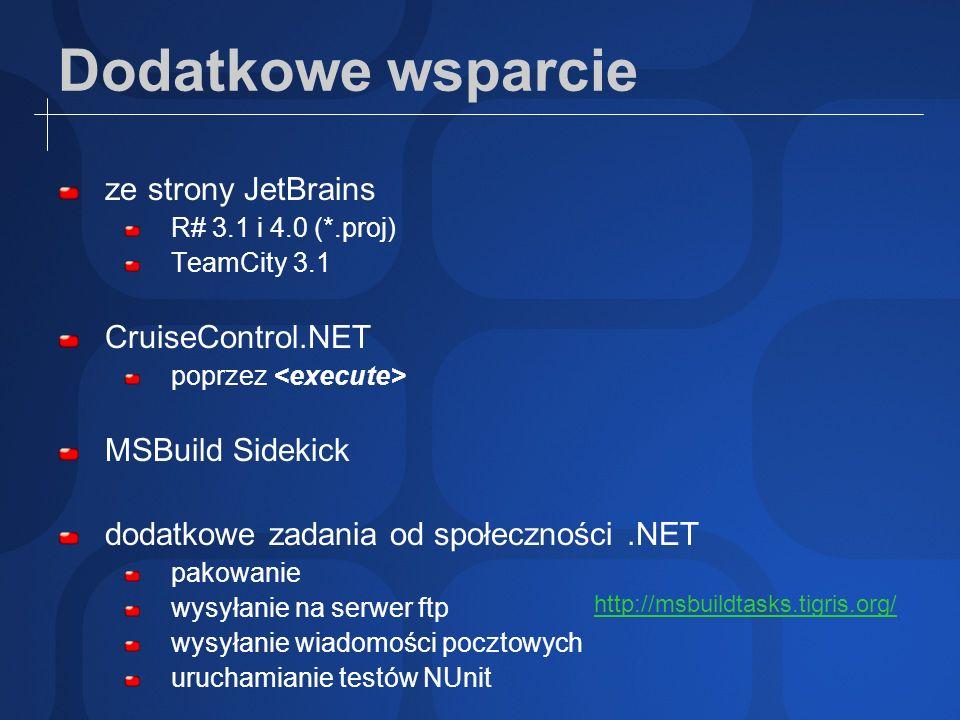 Dodatkowe wsparcie ze strony JetBrains R# 3.1 i 4.0 (*.proj) TeamCity 3.1 CruiseControl.NET poprzez MSBuild Sidekick dodatkowe zadania od społeczności
