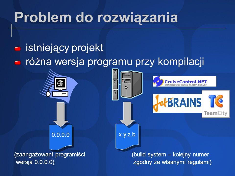 Problem do rozwiązania istniejący projekt różna wersja programu przy kompilacji (zaangażowani programiści(build system – kolejny numer wersja 0.0.0.0)