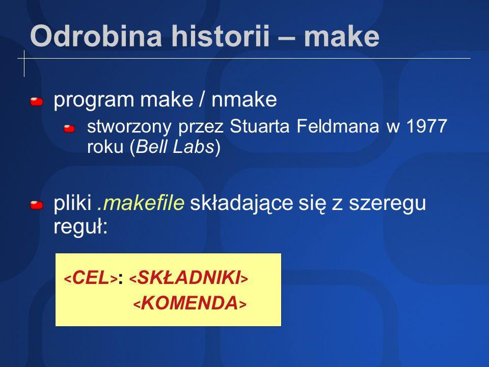 Odrobina historii – make (2) Przykład pliku.makefile składającego się z trzech reguł: hello: hello.o aux.o gcc hello.o aux.o -o hello hello.o: hello.c gcc -c hello.c -o hello.o aux.o: aux.c gcc -c aux.c -o aux.o źródło: http://www.programuj.com