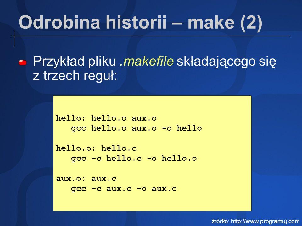 Odrobina historii – make (3) Przykład pliku.makefile ze zmiennymi: CC=gcc CFLAGS=-g OBJS=hello.o aux.o hello: $(OBJS) $(CC) $(LFLAGS) $^ -o $@ źródło: http://www.programuj.com