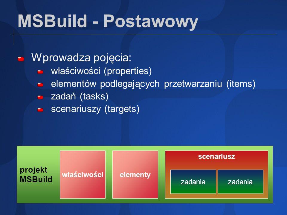 MSBuild - Postawowy Wprowadza pojęcia: właściwości (properties) elementów podlegających przetwarzaniu (items) zadań (tasks) scenariuszy (targets) proj