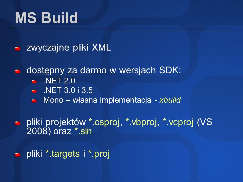 Dodatkowe wsparcie ze strony JetBrains R# 3.1 i 4.0 (*.proj) TeamCity 3.1 CruiseControl.NET poprzez MSBuild Sidekick dodatkowe zadania od społeczności.NET pakowanie wysyłanie na serwer ftp wysyłanie wiadomości pocztowych uruchamianie testów NUnit http://msbuildtasks.tigris.org/