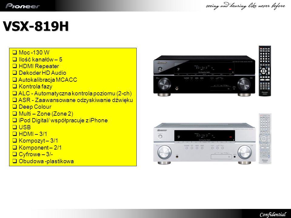 DTS-HD Master Audio & Dolby True HD (VSX-819) Dekoduje HD Audio DTS-HD Master Audio Dolby TrueHD Transfer strumienia danych DTS-HD Dolby True-HD Dolby Digital Plus DTS-LBR HDMI Ver.1.3a
