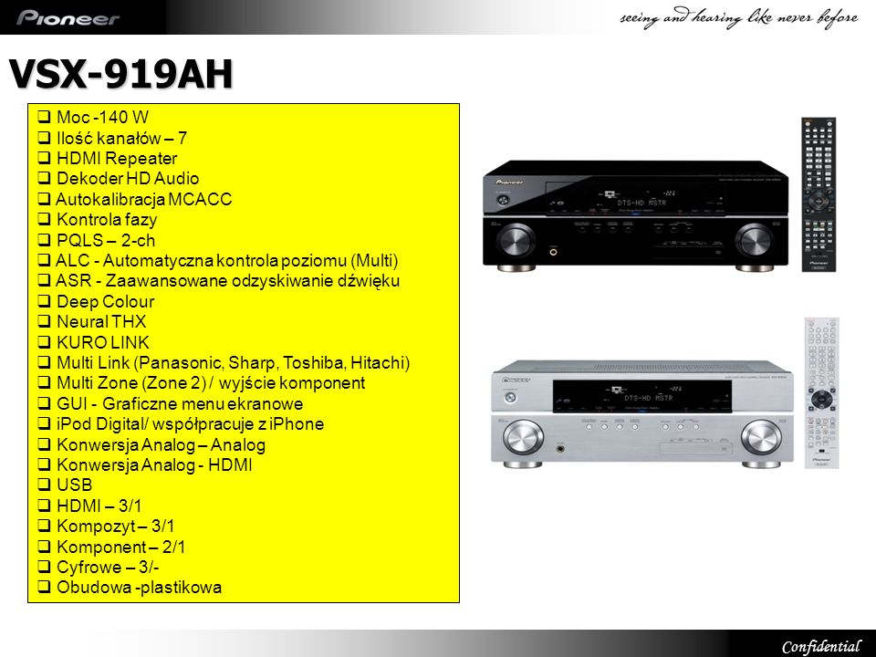 Confidential VSX-819 HDTV Ready Wide Band Component Switching.