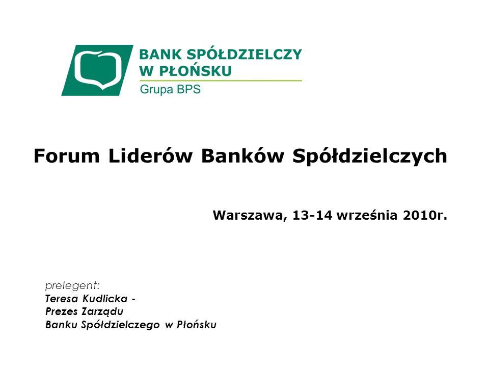 Forum Liderów Banków Spółdzielczych Warszawa, 13-14 września 2010r.